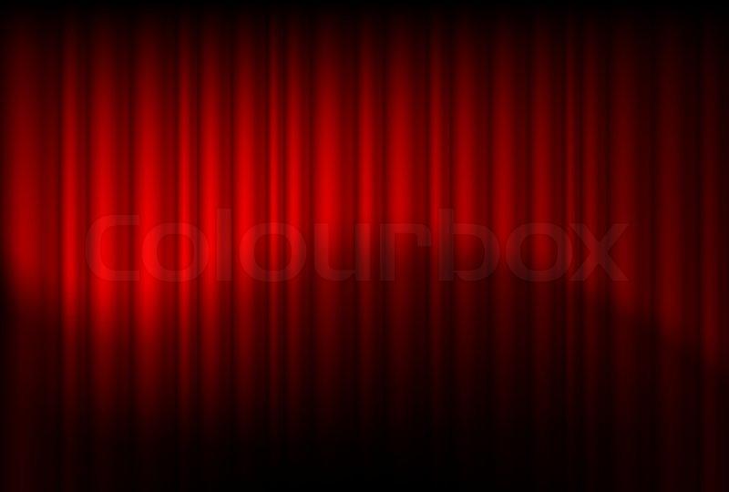 røde gardiner Røde gardiner afspejlede Illustration af designeren | stock vektor  røde gardiner