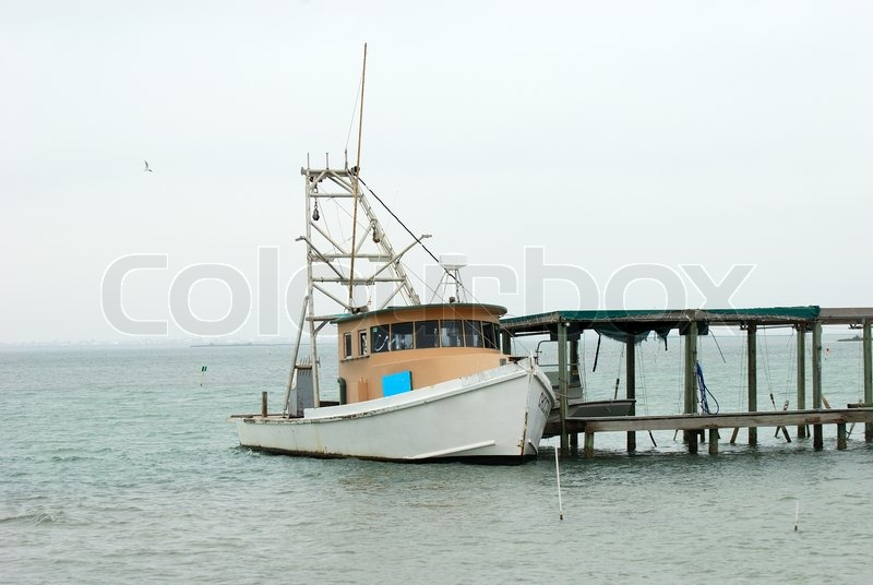 Fishing Boat In Corpus Christi Texas Stock Photo
