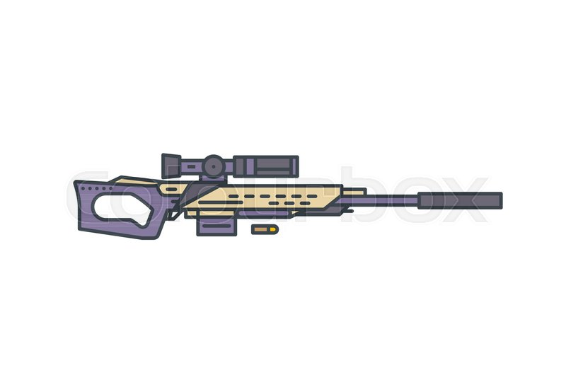Sniper Rifle Vector Line Illustration Modern Hunting Rifle With