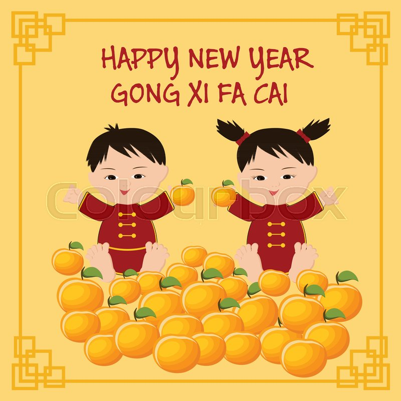 Chinese new year greeting card with chinese kids in traditional chinese new year greeting card with chinese kids in traditional clothing mandarins and text happy new year cong xi fa cai cartoon vector illustration in m4hsunfo