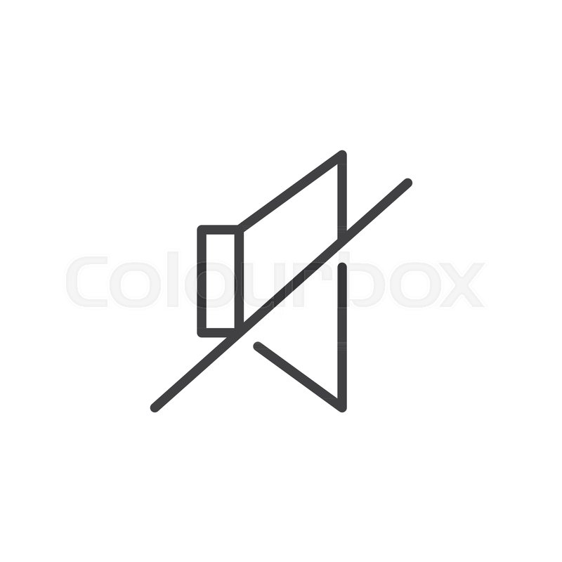 Mute loudspeaker line icon, outline vector sign, linear style ...
