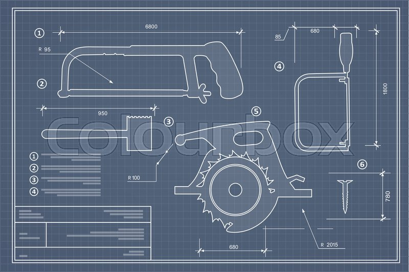 Blueprint building tool set drawing plan layout of industrial and blueprint building tool set drawing plan layout of industrial and home instrument for construction and repair stock vector colourbox malvernweather Image collections