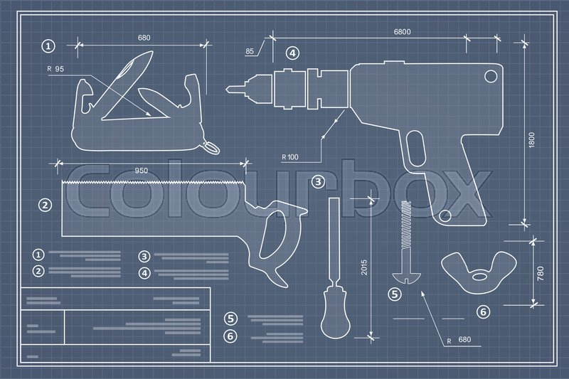 Blueprint building tool set drawing plan layout of industrial and blueprint building tool set drawing plan layout of industrial and home instrument for construction and repair vector malvernweather Image collections