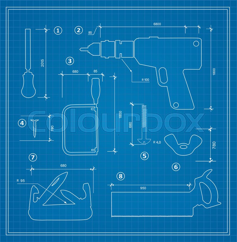 Blueprint building tool set drawing plan layout of industrial and blueprint building tool set drawing plan layout of industrial and home instrument for construction and repair stock vector colourbox malvernweather Gallery