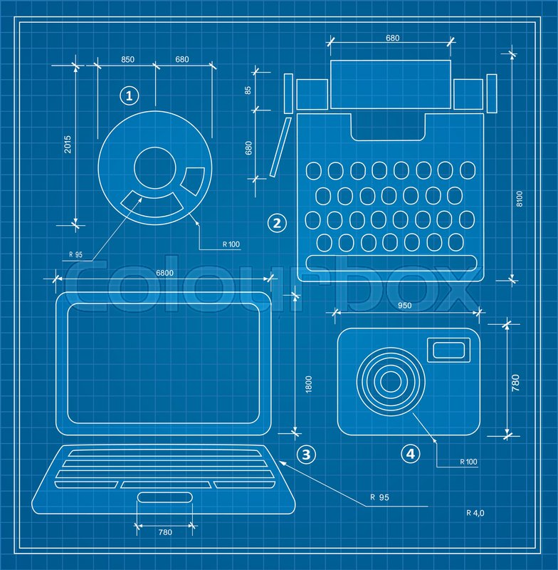 Blueprint plan outline draft personal computer set drawing plan blueprint plan outline draft personal computer set drawing plan layout of industrial and household items for creativity writing and design stock vector malvernweather