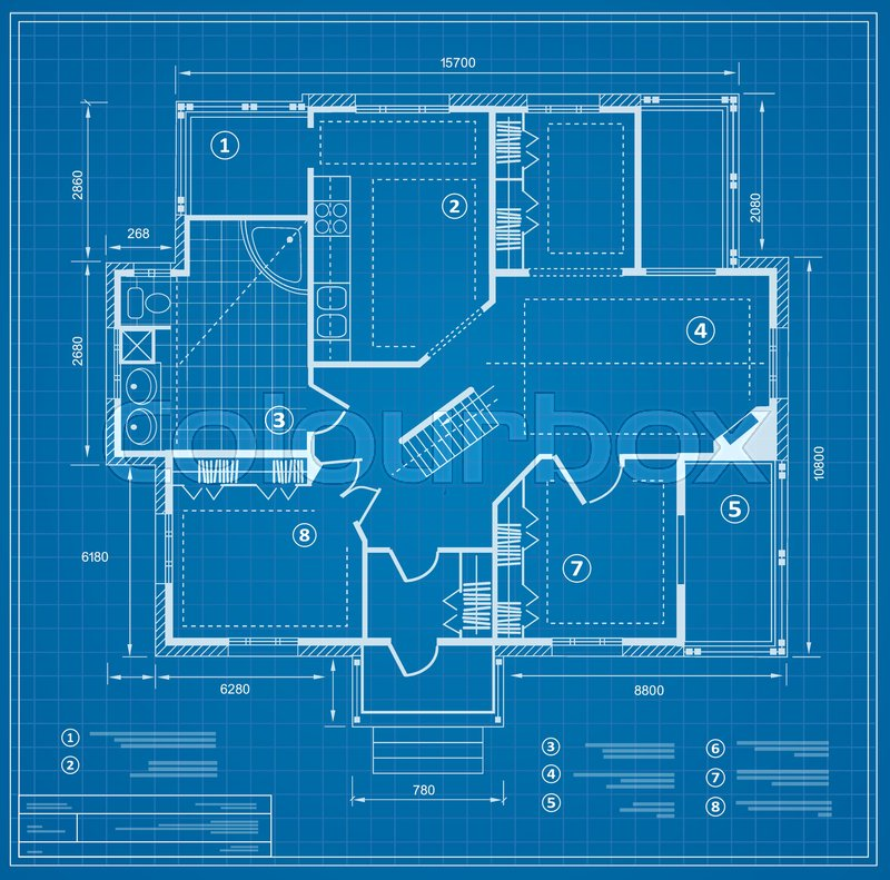 Blueprint House Plan Drawing. Figure Of The Jotting Sketch Of The  Construction And The Industrial Skeleton Of The Structure With The Plan And  Dimensions ...