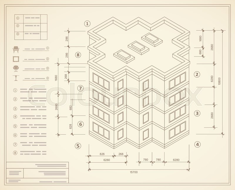 Blueprint isometric plan of a residential building. Drawing of the ...