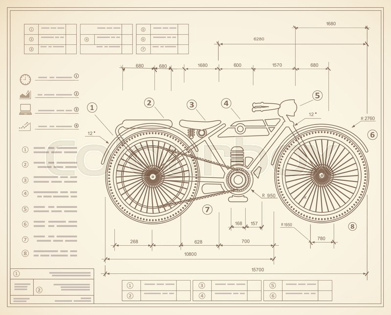 Blueprint plan outline draft motorbike motorcycle. Drawing of the ...