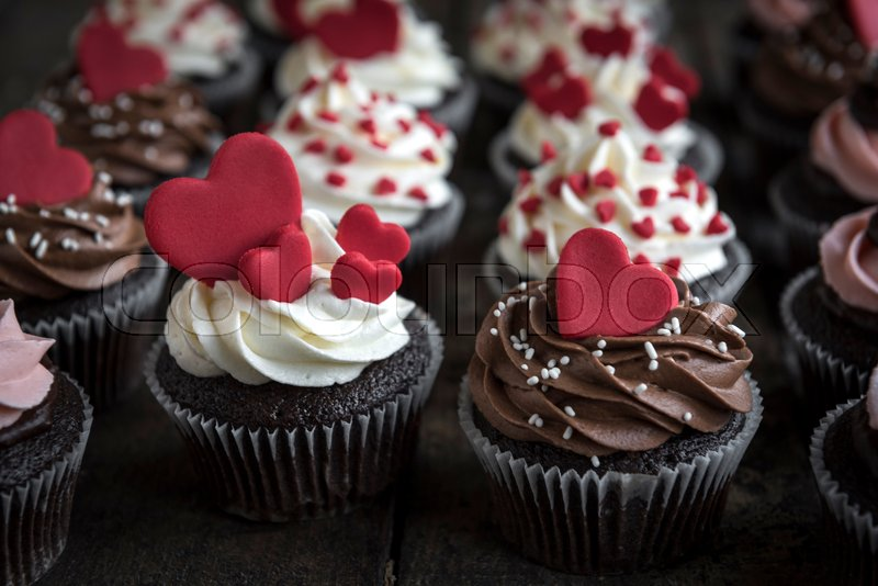 Sweet Love Cupcakes Valentines Day Concept And Selrctive Focus