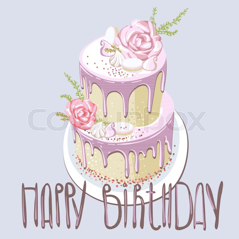 Colourful Sweet Birthday Cake Can Be Used For Printing On Paper