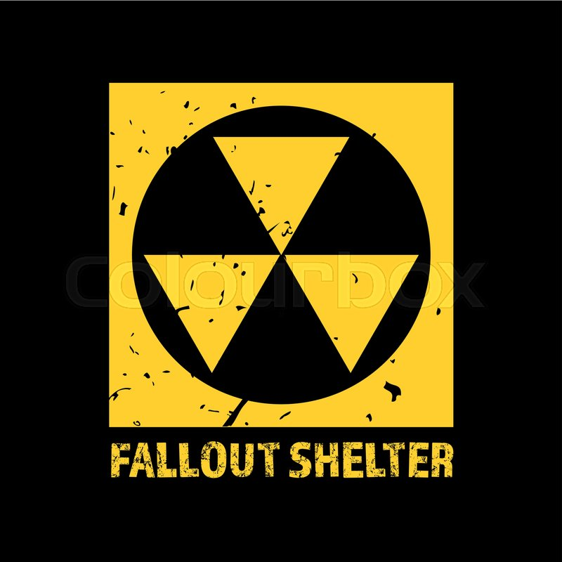 Fallout Shelter Vintage Nuclear Symbol Radioactive Zone Sign