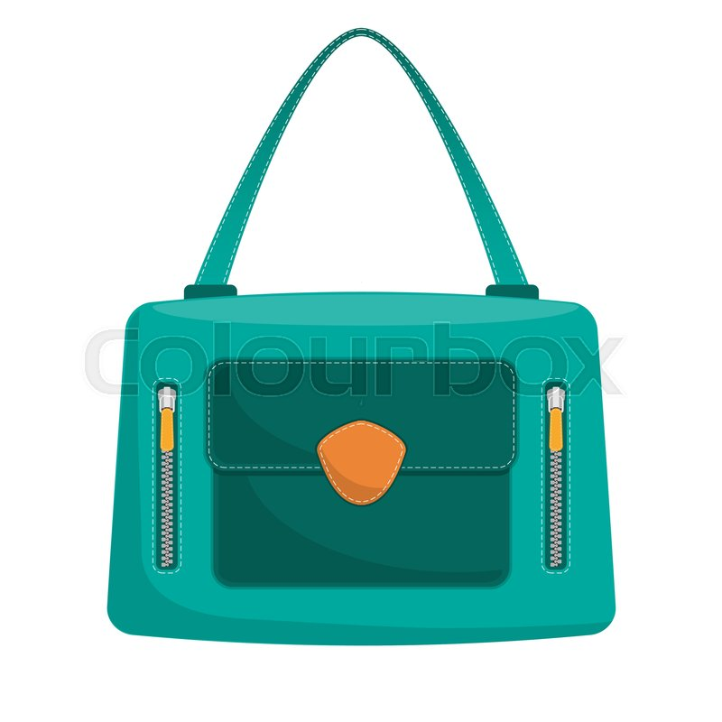 3c170b61c9 Stylish colorful leather handbag with white stitching. Fashionable women s  bag isolated on white background. Vector illustration in flat style