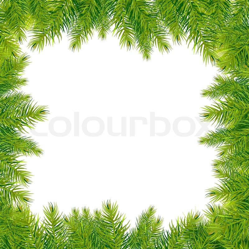 Stock vector of 'Christmas Tree Branches Border, Isolated On White Background, Vector Illustration'