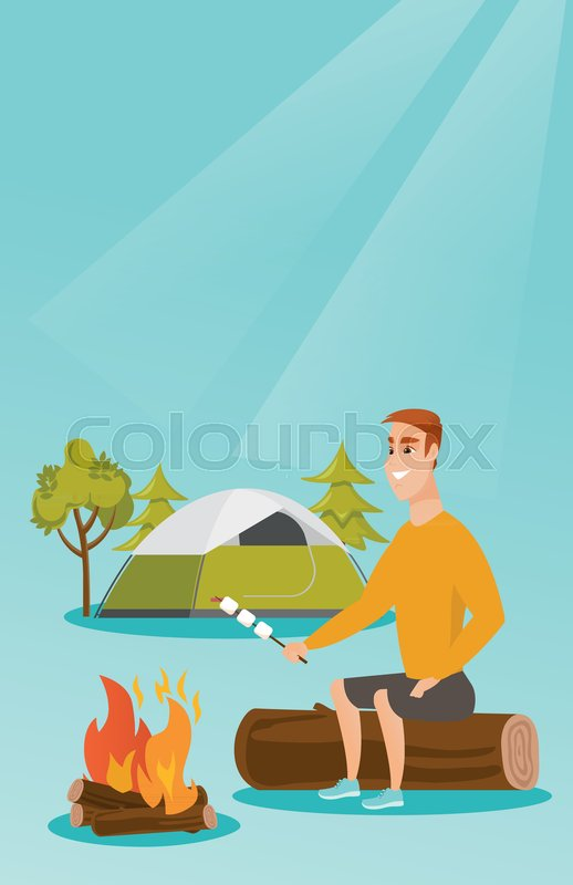 Caucasian White Man Roasting Marshmallows Over Campfire On The Background Of Camping Site With A Tent Sitting Near And