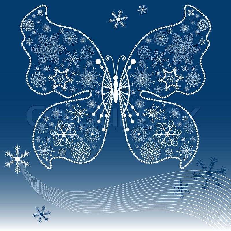 Christmas dark blue background with snowflake-butterfly vector ...