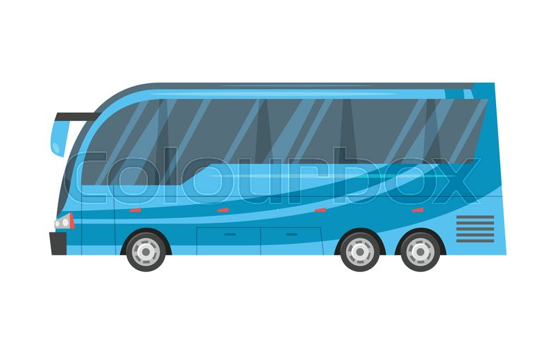 Vector Cartoon Style Illustration Of City Transport   Blue Bus. | Stock  Vector | Colourbox