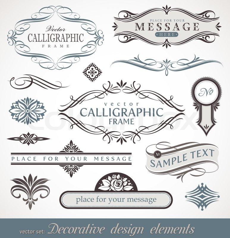 vector decorative calligraphic design elements page decor stock