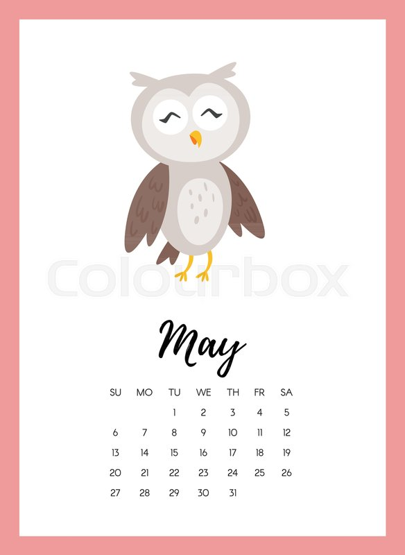 Vector Cartoon Style Illustration Of May 2018 Year Calendar Page