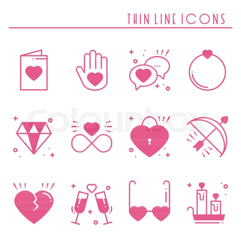 Love Line Icons Set Happy Valentine Day Pink Silhouette Signs And