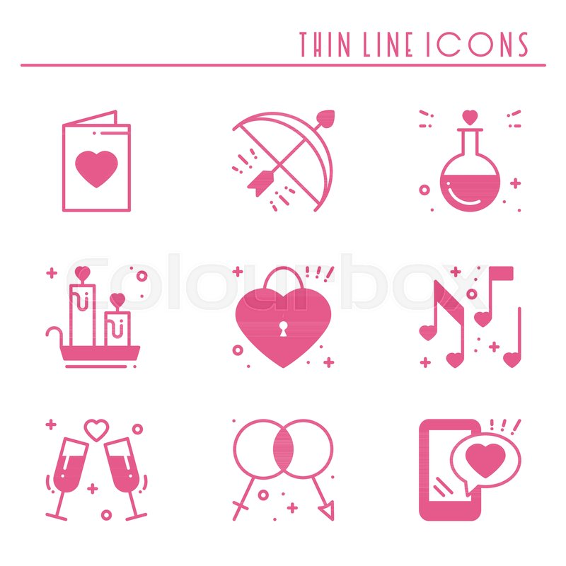 Love Line Icons Set Happy Valentine Day Pinksilhouette Signs And