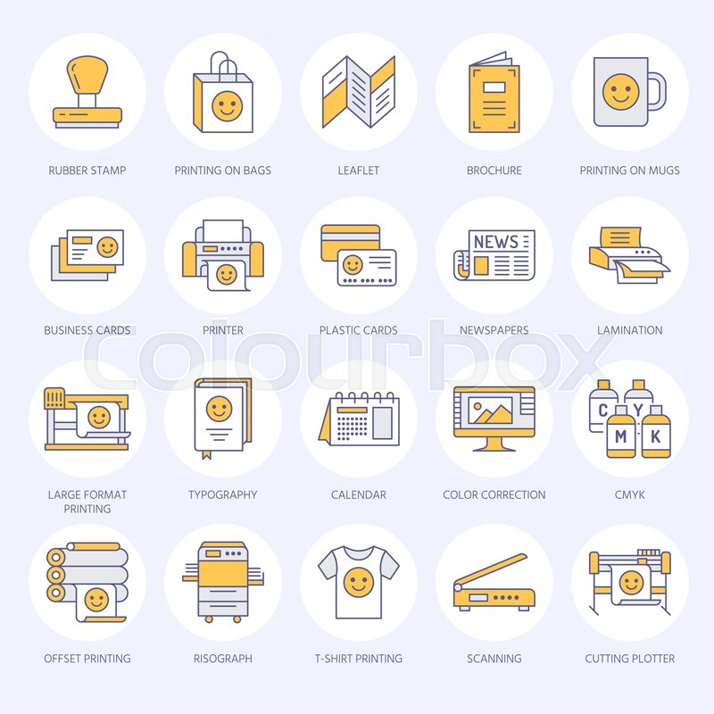 Printing house flat line icons print shop equipment printer printing house flat line icons print shop equipment printer scanner offset machine plotter brochure rubber stamp thin linear signs for polygraphy reheart Gallery