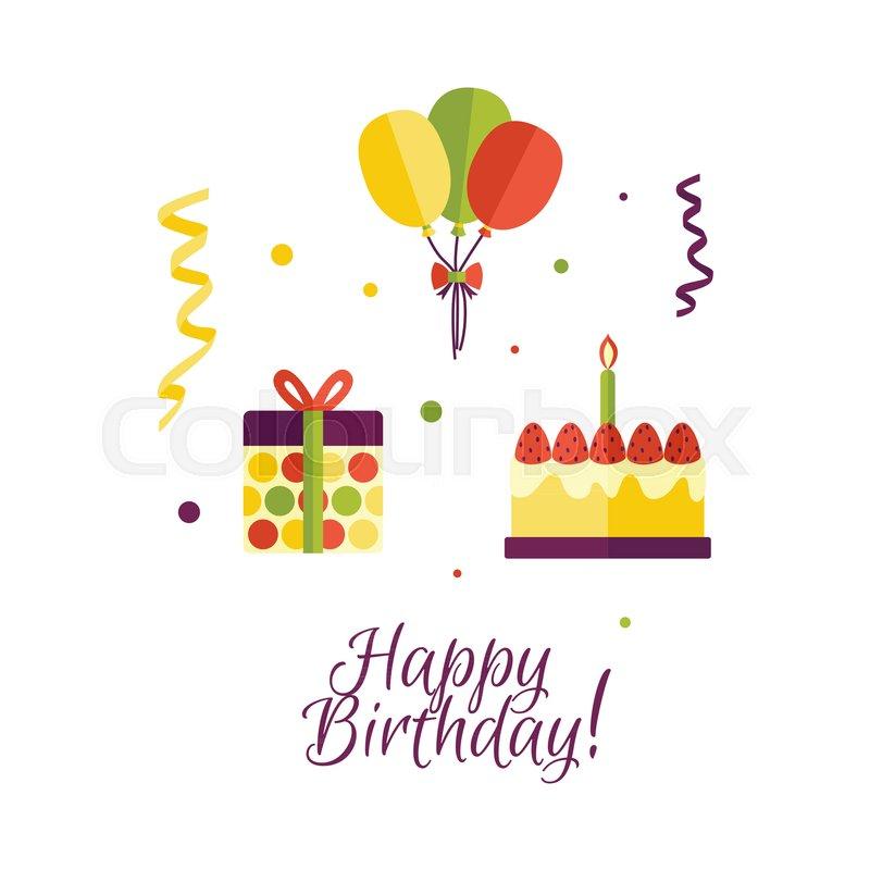Vector Flat Birthday Celebration Symbols Icon Set Birthday Cake