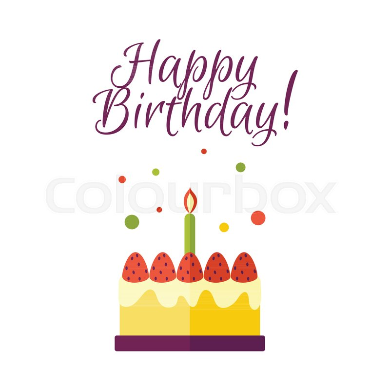 Vector Flat Birthday Celebration Symbol Birthday Cake With Candle
