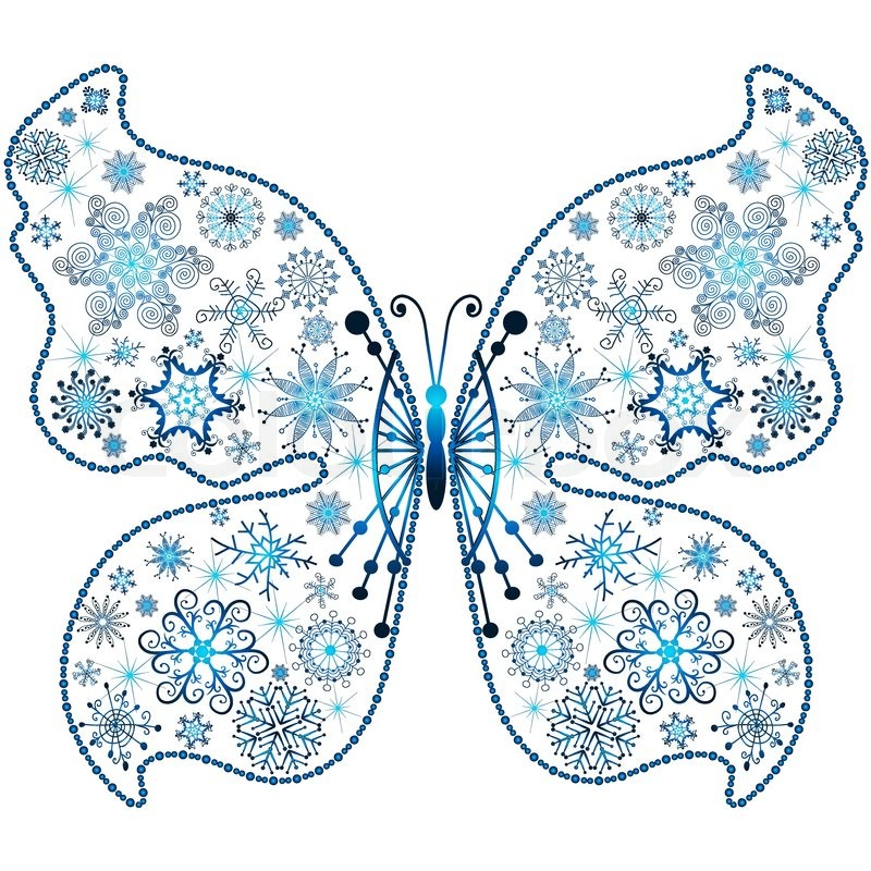 Christmas snowflake-butterfly isolated on white backgroundvector ...
