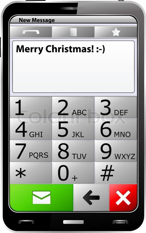 Smartphone with \'Merry Christmas\' sms on the screen | Stock Vector ...