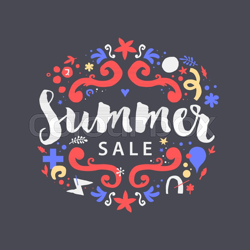 Vector summer sale template with funky hand drawn elements. Useful ...