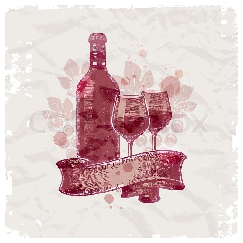Grunge hand drawn wine bottle & glasses on vintage paper ...