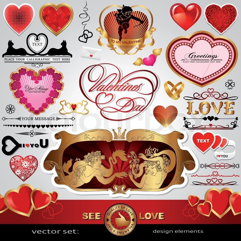 Happy Valentine's Day, Love and wedding vector set ...
