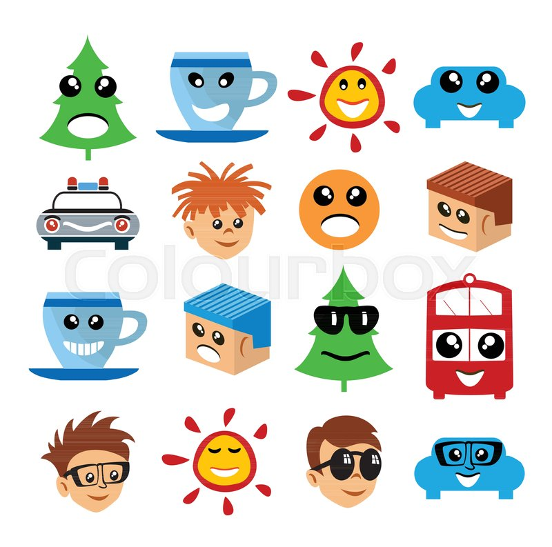 Emoji Emoticon Expression Icons In Style Cartoon Collection Face