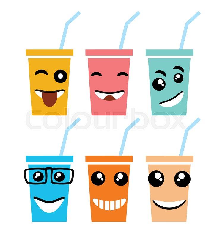 Emoji Emoticon Expression Icons In Style Milk Shake Face Symbols