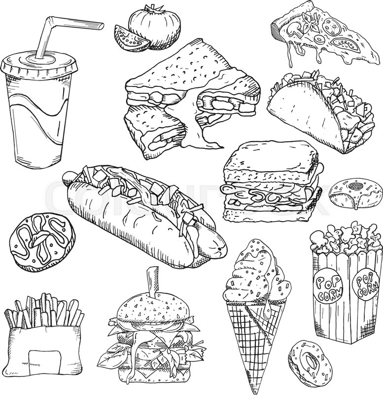 Fast Food Background Snack Stock Vector Colourbox