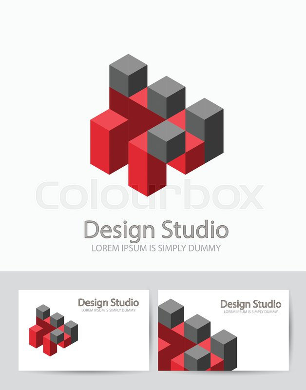 Abstract isometric logo three-dimensional 3D shape template for ...