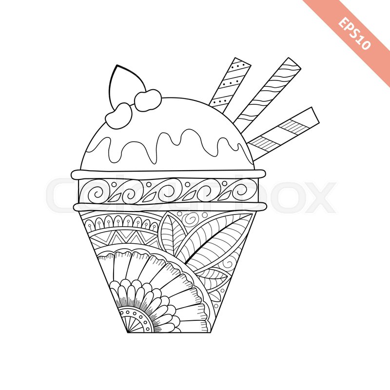 Cartoon Hand Drawn Ice Cream In Waffle With Floral Doodle Ornament Coloring Page Book Ornate Black Line Sweet