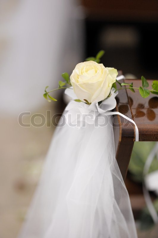 Beautiful flower wedding decoration in a church stock photo beautiful flower wedding decoration in a church stock photo colourbox junglespirit Choice Image