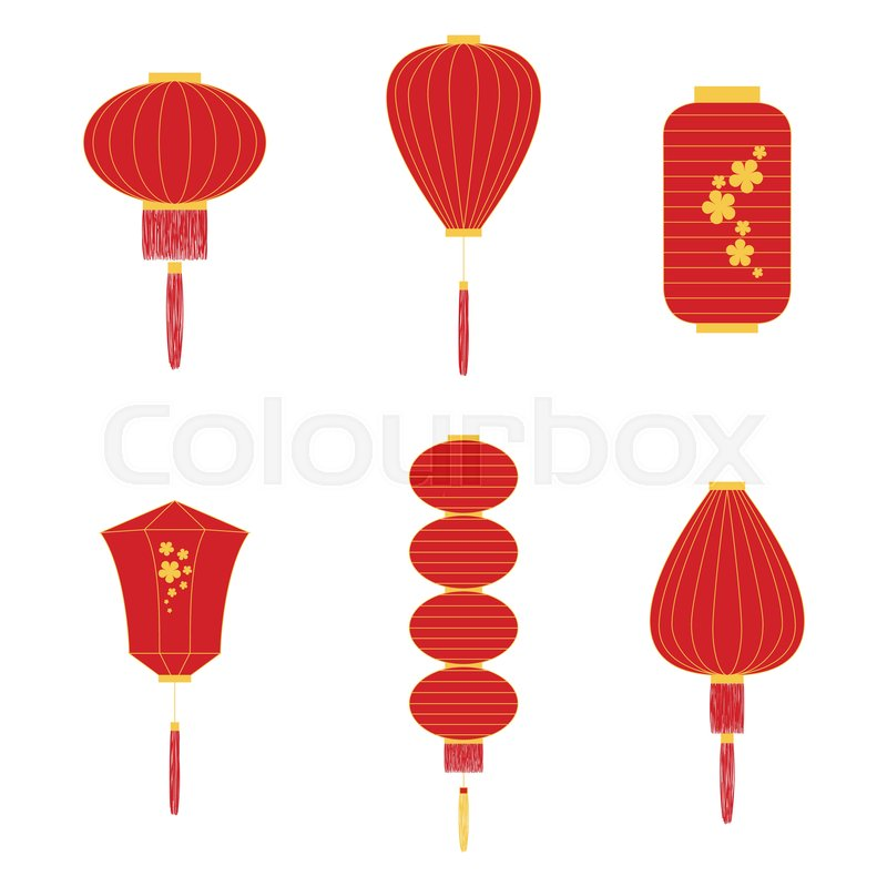 Set of different shapes Chinese lanterns in red and yellow colors ...
