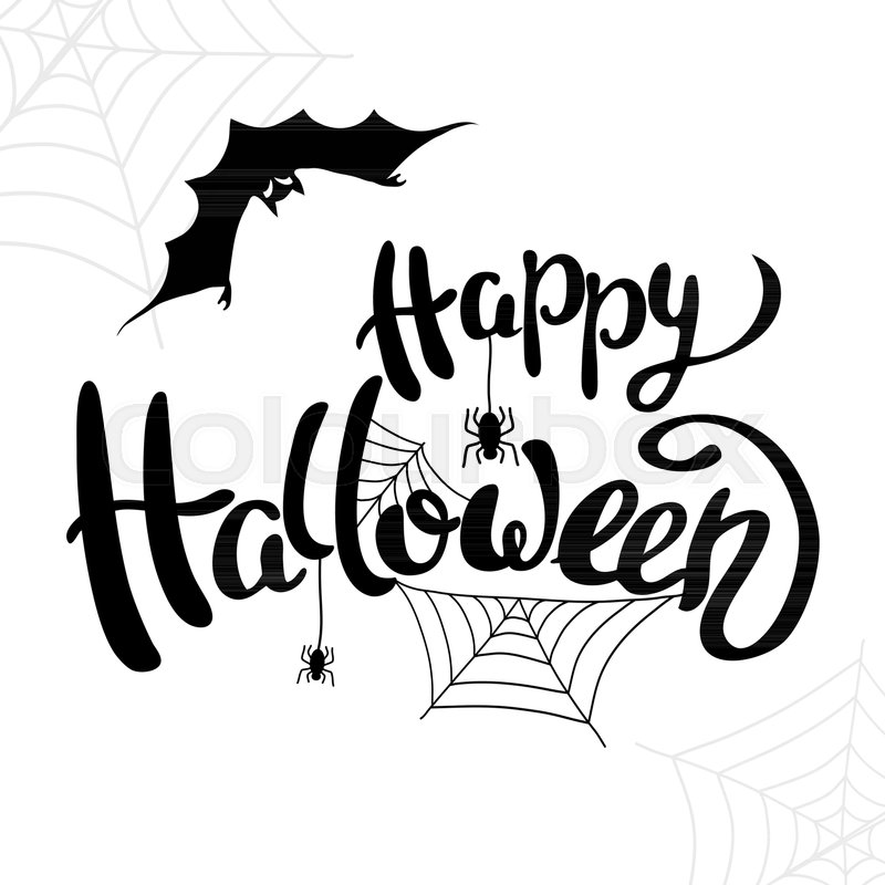 happy halloween template for banner or poster holiday lettering