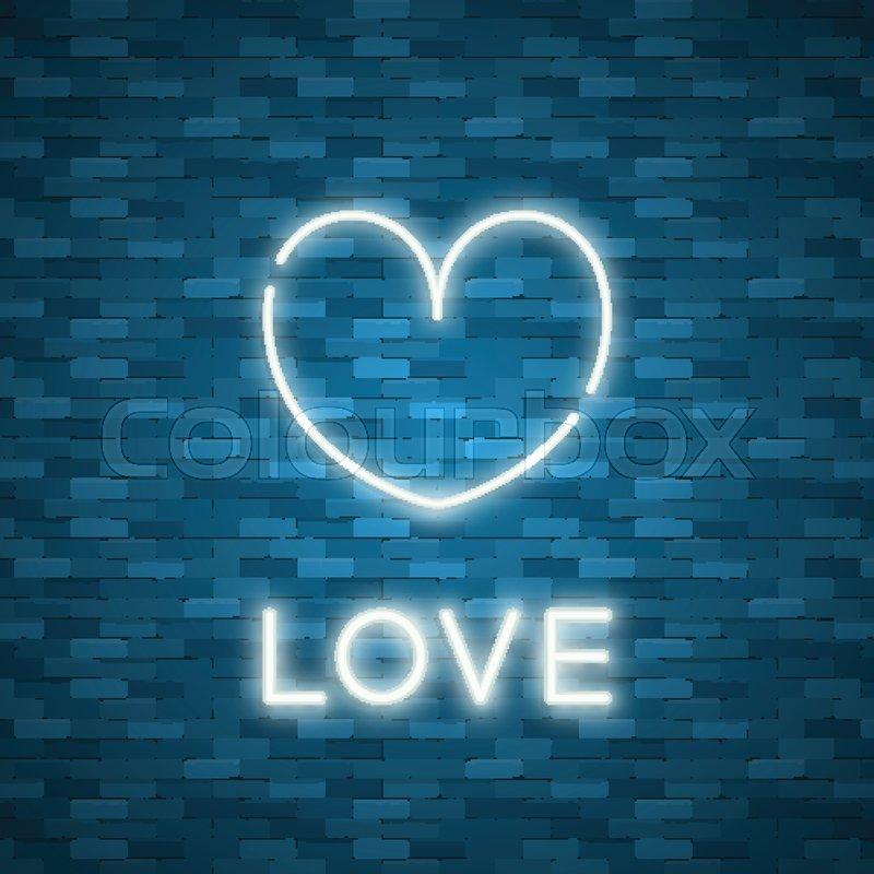 Bright Heart Neon Sign Retro Blue Stock Vector