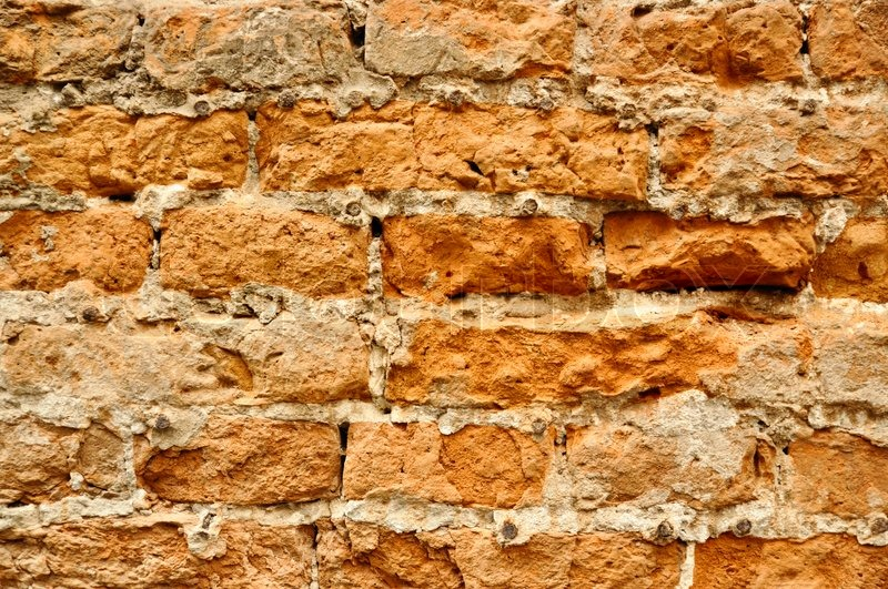 Old Red Brick Rough Wall Grunge Texture Stock Photo