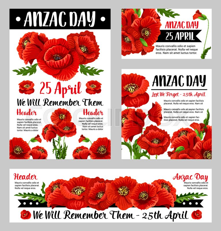Anzac Poppy Poster Set With Floral Symbol Of National Day Of