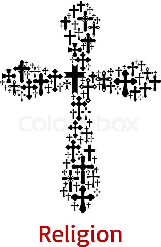 Christian Cross Or Crucifix Symbol Combined Of Crucifixion Icon For
