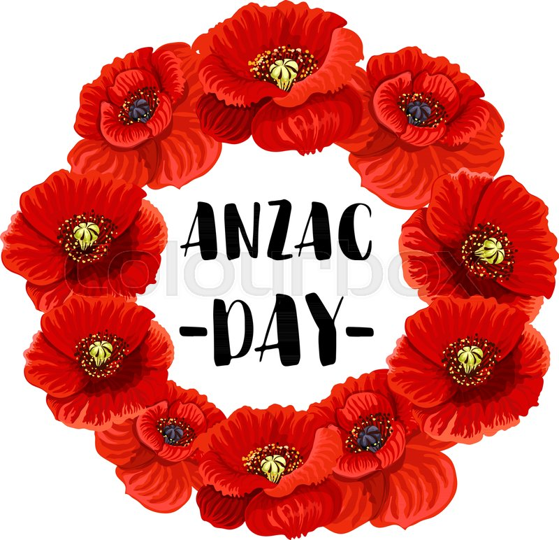 Anzac day memorial wreath icon of red poppy flower floral frame anzac day memorial wreath icon of red poppy flower floral frame with anzac day text in center for australian and new zealand army corps remembrance day mightylinksfo