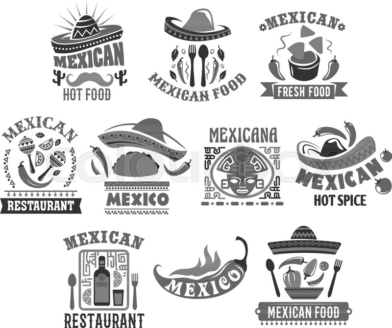Mexican Restaurant Icons Set Of Sombrero Hat Jalapeno Chili Pepper