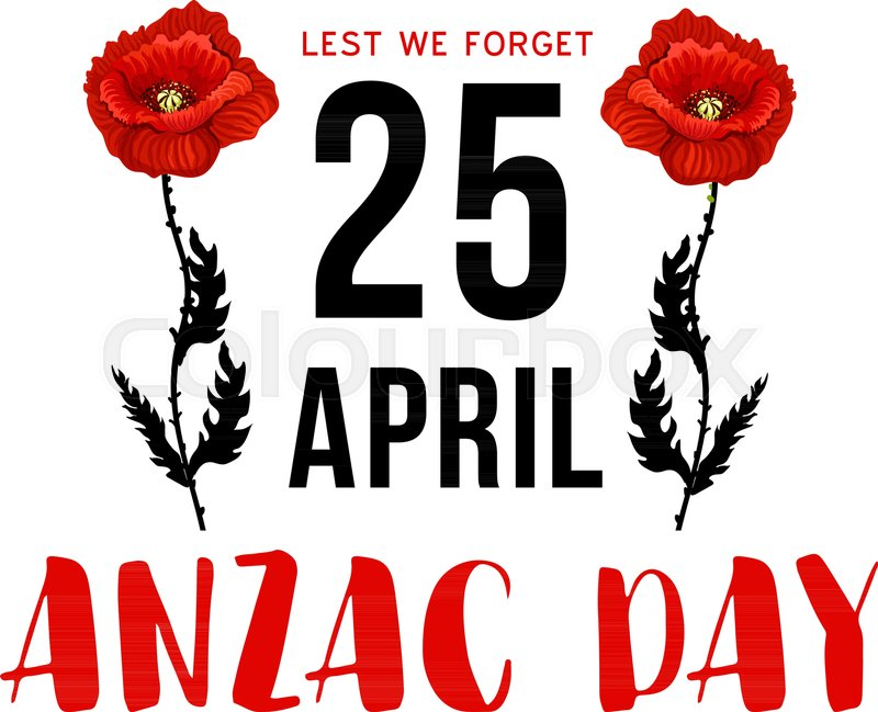 Anzac day 25 april memorial card with red poppy flower australian anzac day 25 april memorial card with red poppy flower australian and new zealand army corps remembrance day and world war campaign anniversary floral card mightylinksfo