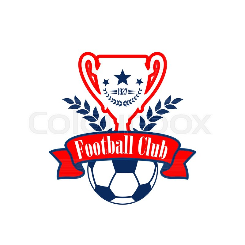 Football club or soccer college league team icon or badge template football club or soccer college league team icon or badge template design vector heraldic soccer cup and ball with victory laurel wreath stars and red maxwellsz