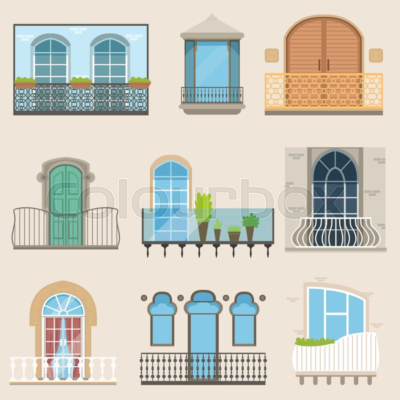 Colorful detailed balcony set in different styles. Classical, modern and decorative forged balconies. Flat cartoon vector, isolated architecture exterior building design elements with potted flowers, vector