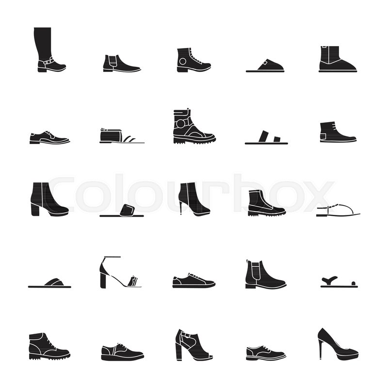 6b32d2c592f9 Shoes silhouette Icons isolated on ...
